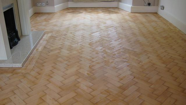 Parquet floor sanding before