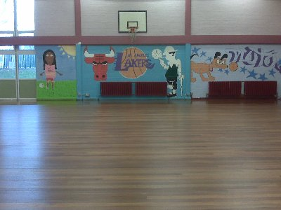 BARNET SCHOOL FLOOR SANDED, REPAIRED GAP FILLED AND WAXED