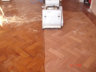 Parquet floor sanding in progress