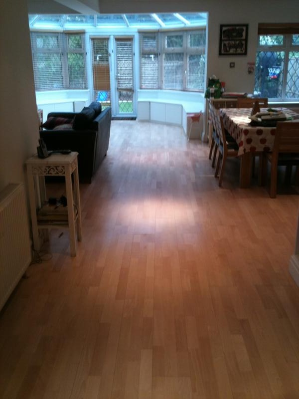 3 strip engineered oak floor after sanding and sealing with 3 coats of Junckeers HP Commercial matt lacquer