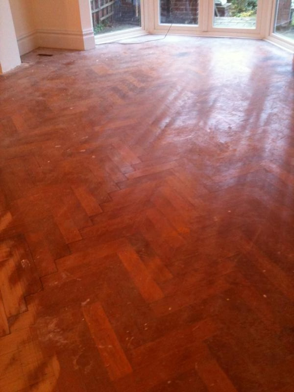 Original parquet floor before sanding