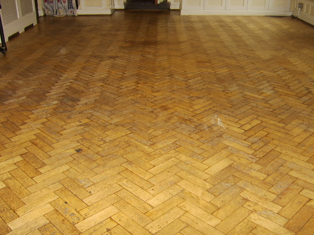 Very original Christ Church parquet floor before renovation