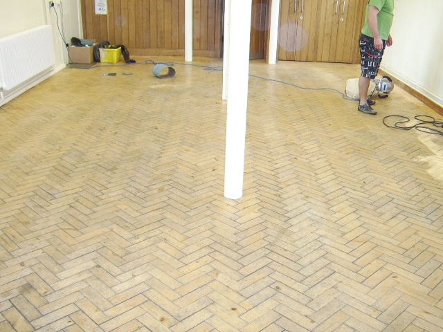 Ewelme Primary School parquet floor before sanding and sealing