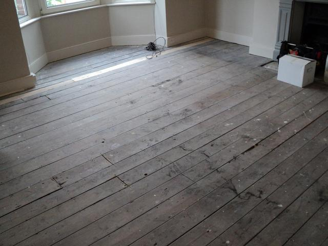 Original pine floor before sanding