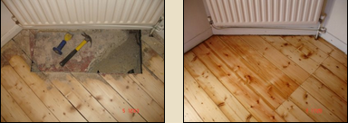 Concrete hearth removal and restitching with reclaimed boards in staggered manner is our speciality.