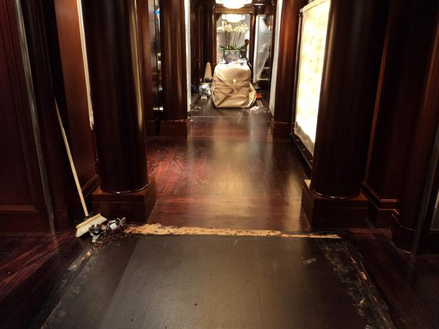 Ralph Lauren London shop floor before sanding, staining and sealing