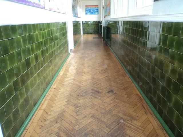 Reading school parquet hallway floor sanding before