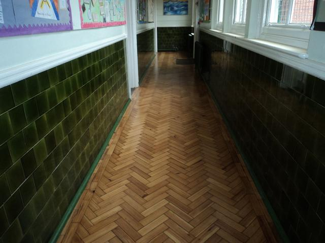 Reading school parquet hallway floor sanding after