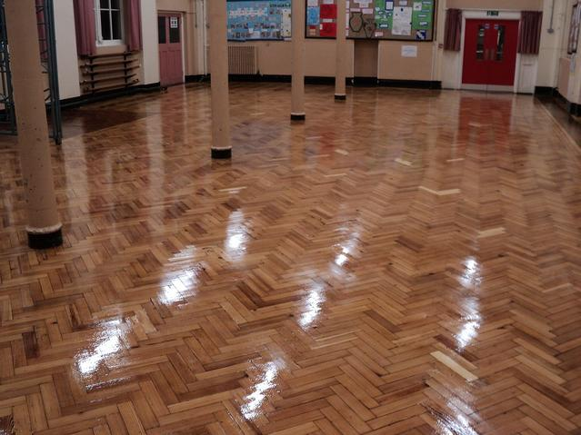 School pine parquet  flooring after major restoration, sanding gap filling staining and sealing