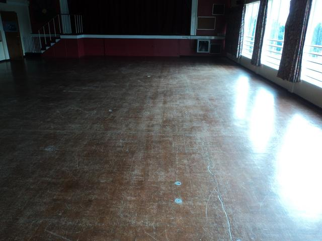 Original 1960 granwood school flooring before sanding and finishing