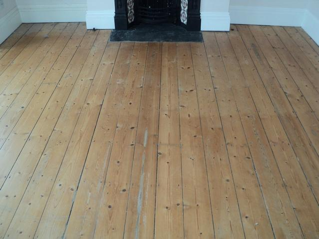 Original pine floor before refinishing.