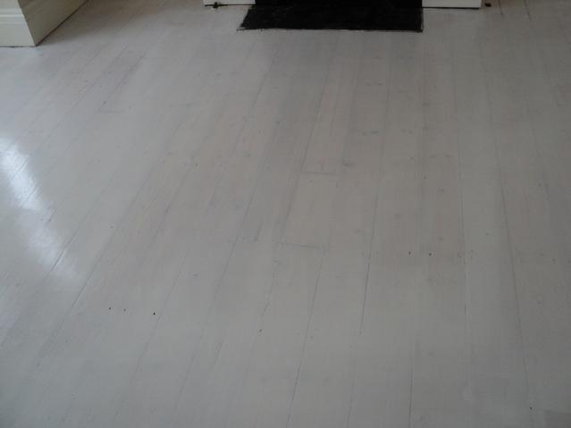 Original pine floor after sanding, gap filling and 2 coats of White Blanchon Oil.