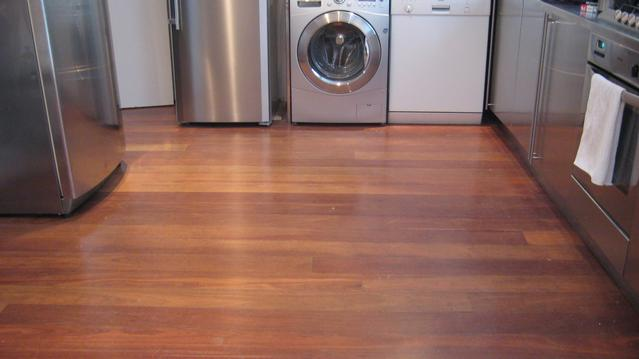 Lovely hardwood kitchen flooring before sanding