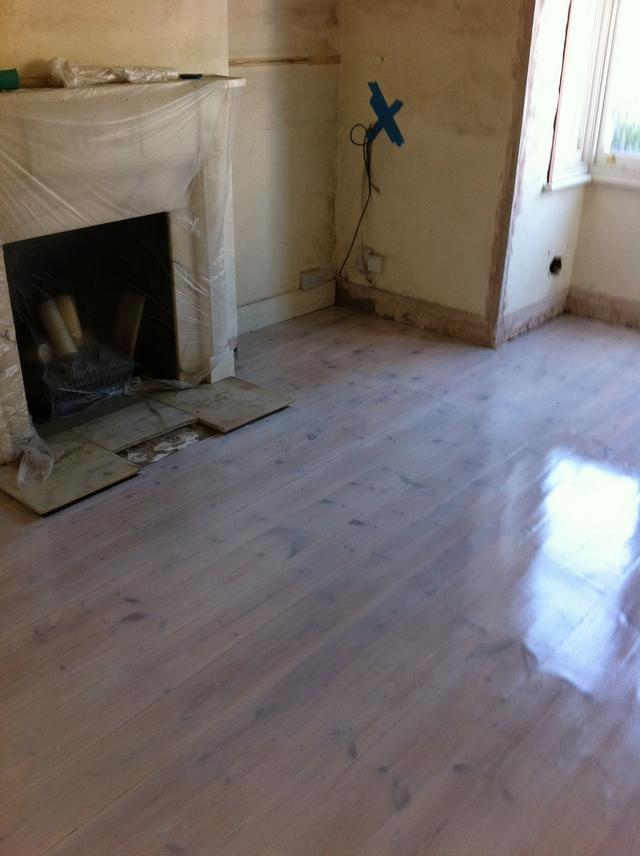 The bad floor turned into beautifully finished lime washed flooring which our customer liked a lot.