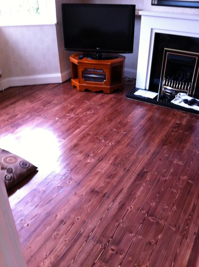 Really bad flooring after sanding, staining and varnishing turned into aming masterpiece. Fantastic work of which we are very proud.
