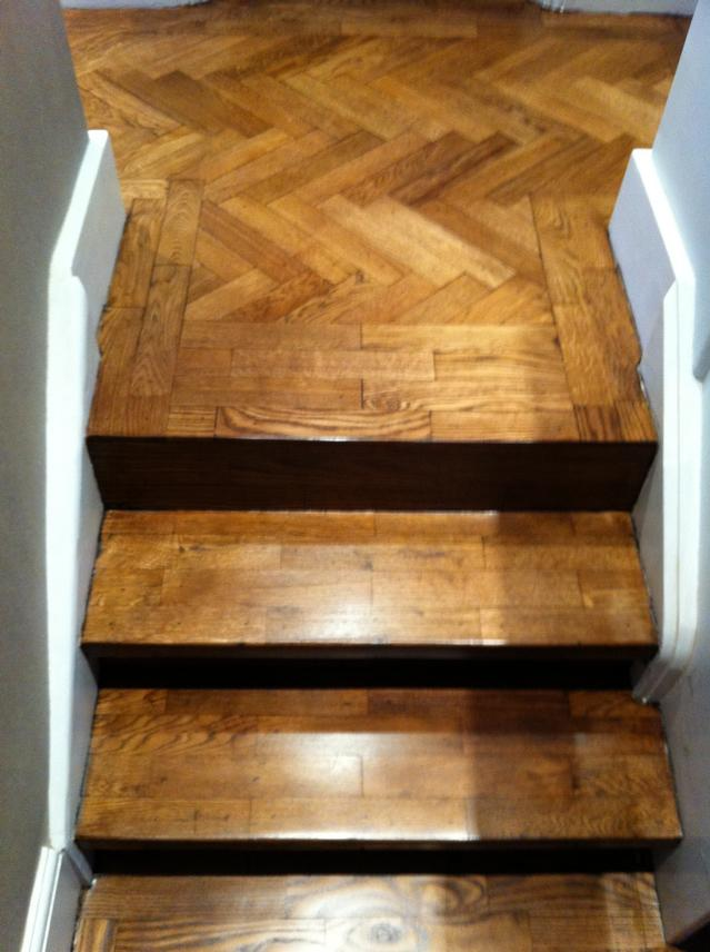 Parquet staircase after sanding, staining with Blanchon colour and finishing with 3 coats of hardwax oil