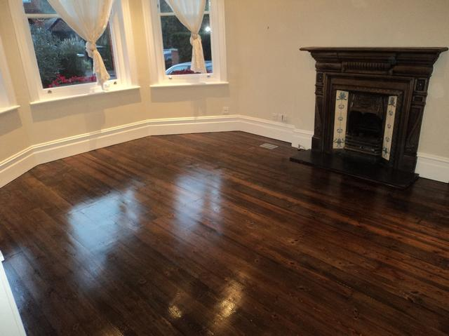 Pine floorboards renovation