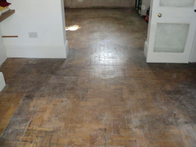 Parquet oak floor before renovation