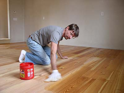 Wooden Floor Oiling using Rustins floor oil.