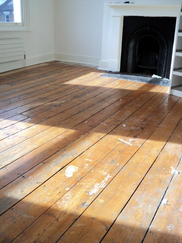 Original pine flooring before treatment.