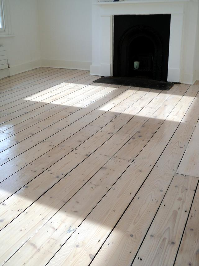 Original pine floor after sanding, staining with white Myland and refinish with 3 coats of matt lacquer