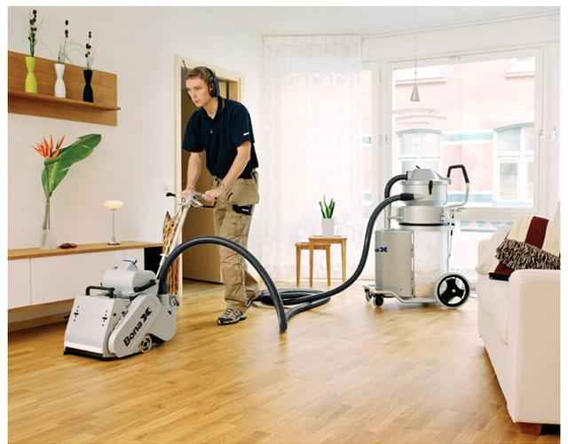 Bona belt floor sander in operation