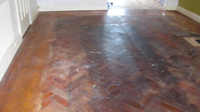 Very original parquet flooring before renovation